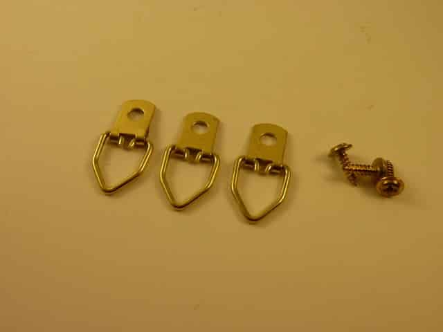 Brass Plated Picture Hooks with screws (10 pieces)
