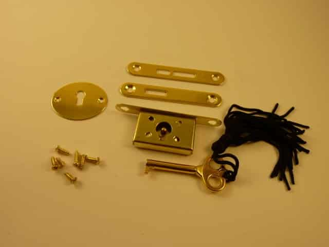 Brass plated Lock and Key Set, Polished and Lacquered (each)