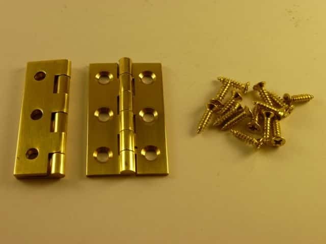 """Solid Brass polished Butt Hinges 1 1/2"""" x 7/8"""""""