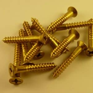 "Solid Brass Wood Screws 1 1/2"" x 8 g (100 screws) phillips head"