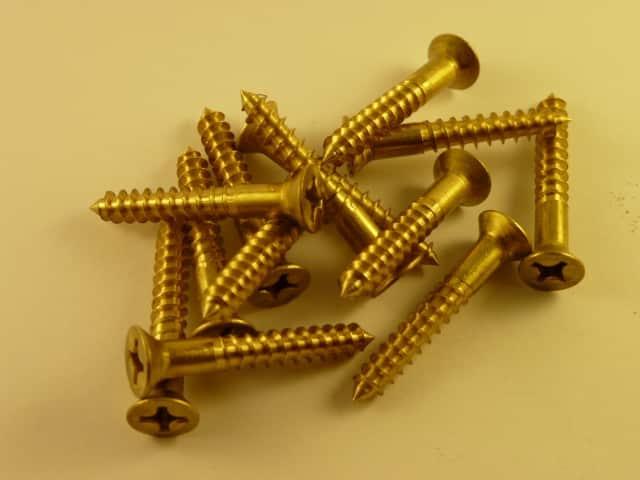 "Solid Brass Wood Screws 1 1/2"" x 12 g (100 screws)phillips head"
