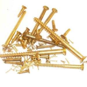 "Solid brass wood screws 1 1/4"" x 8g, slotted, countersunk head (100 screws)"