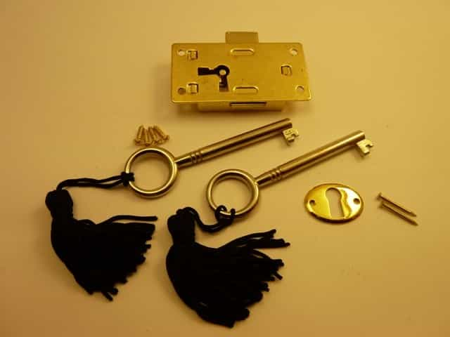 Brass plated Steel Drawer Locks - Medium