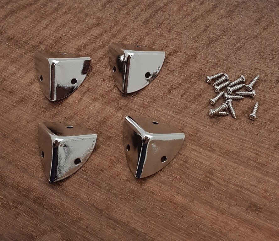 Chrome plated Box Corners 24mm x 24mm